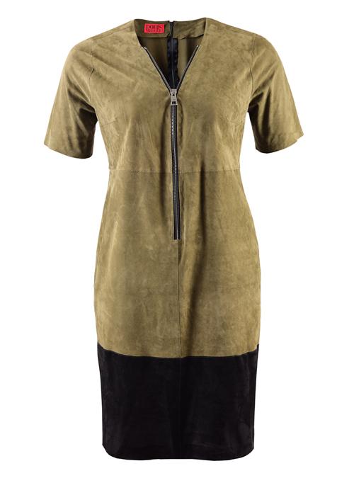 Leather Zip Dress, Straight Cut