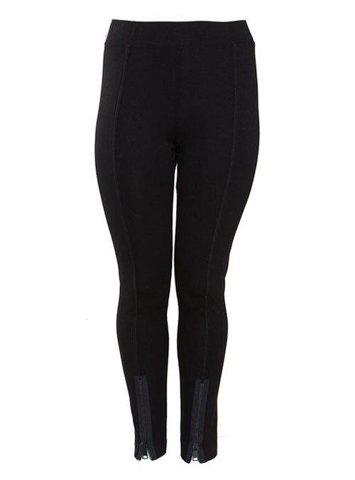 Slim Cut Zip Pants, Black