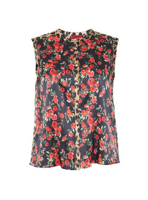Blouse Statement Sleeveless, Roses