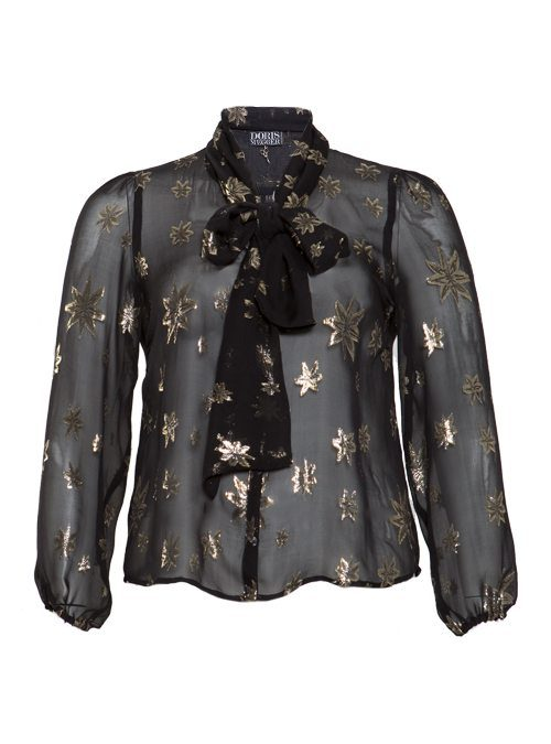Sheer Blouse, Night Sky, black and gold
