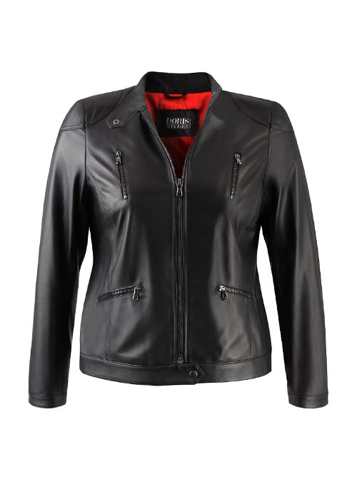 Biker Leather Jacket, Black on Black