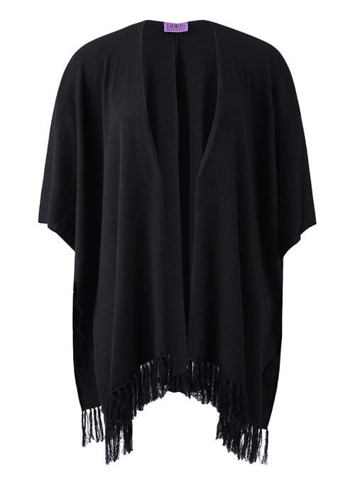 Super Cozy Cashmere Poncho, Black