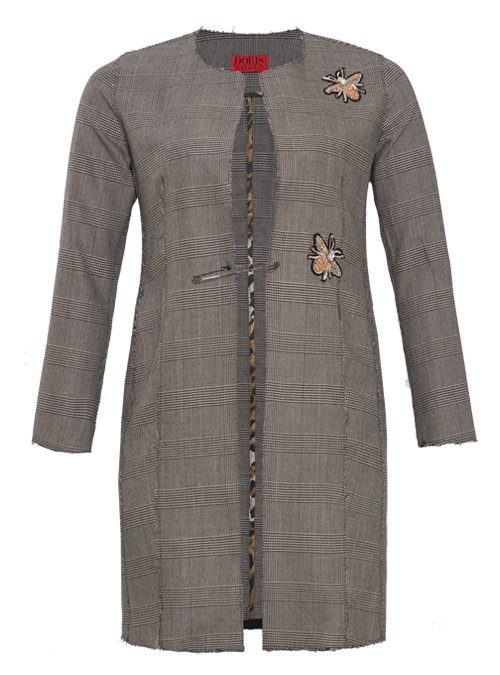 Glencheck Coat, Style Revival, Bee Embroidery