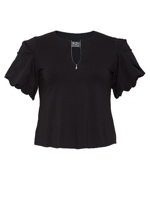 Sway Cropped Shirt, Front Zip, Black