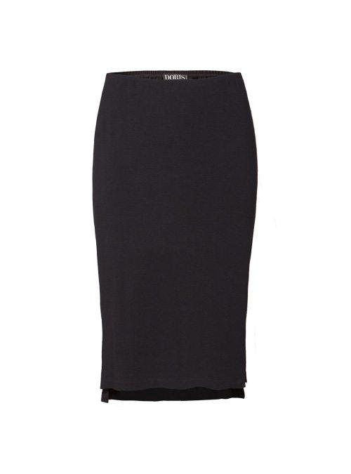 Midi Skirt, Black, Premium Jersey