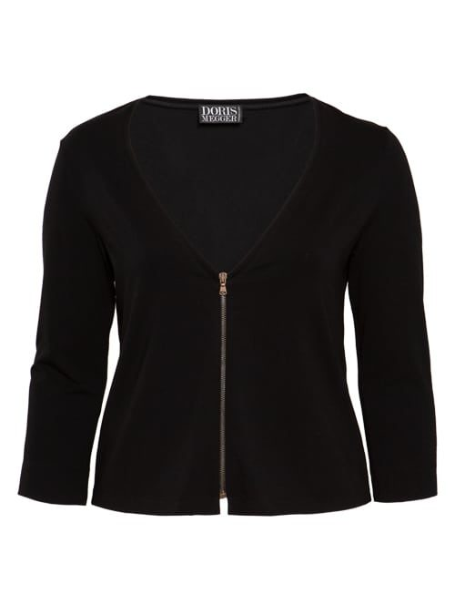 Zip Jacket, Short Cut, Black