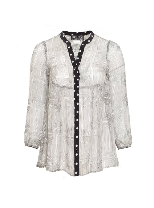 Delicate Blouse, Seidenchiffon, Black and white