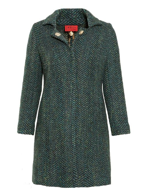 Wool Coat, Emerald, Golden Nuance