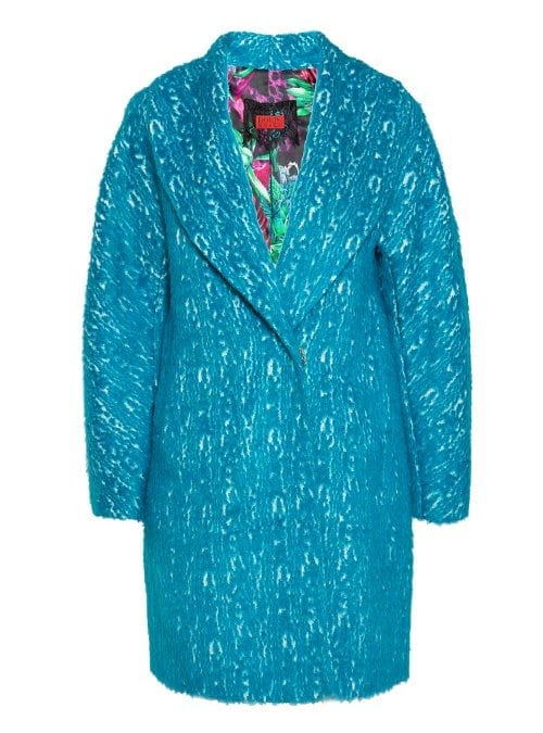 Cocoon Coat, Electric Turquoise, Faux Fur