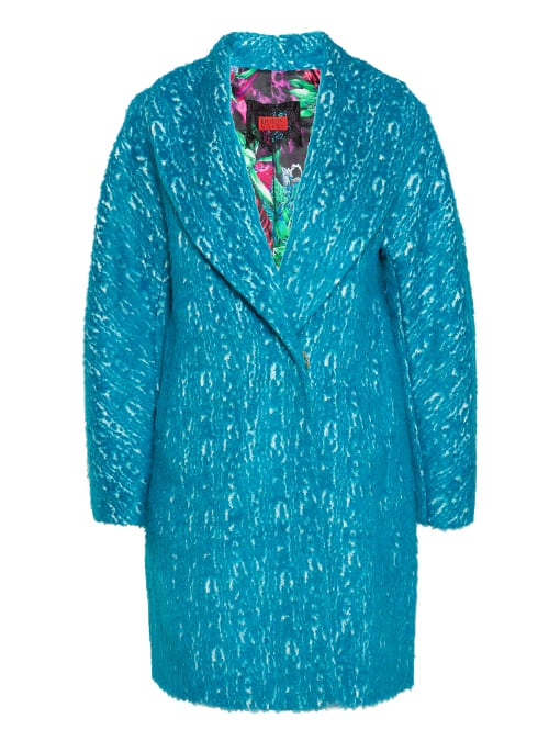 Cocoon Coat, Electric Turquoise, Faux Fur