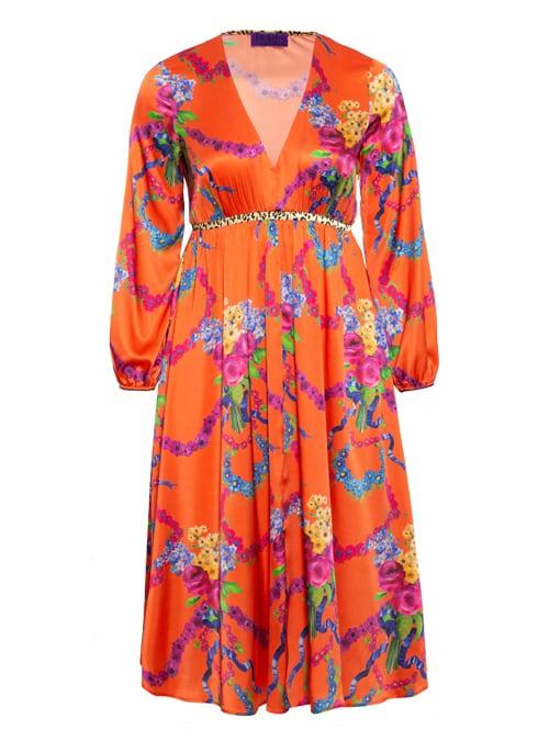 Vicky V-Neck Dress, High Waist, Silk
