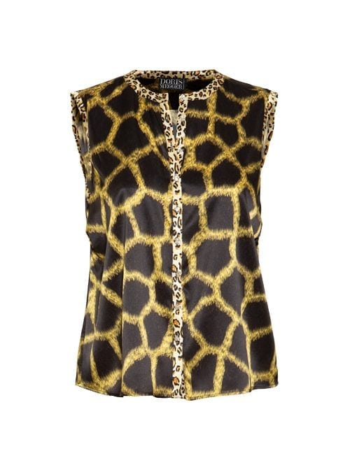 Blouse Statement Sleeveless, Leo Days, Black and Gold