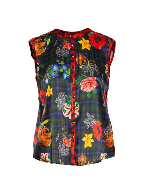 Blouse Statement Sleeveless, Glencheck Blooms, Red Leo