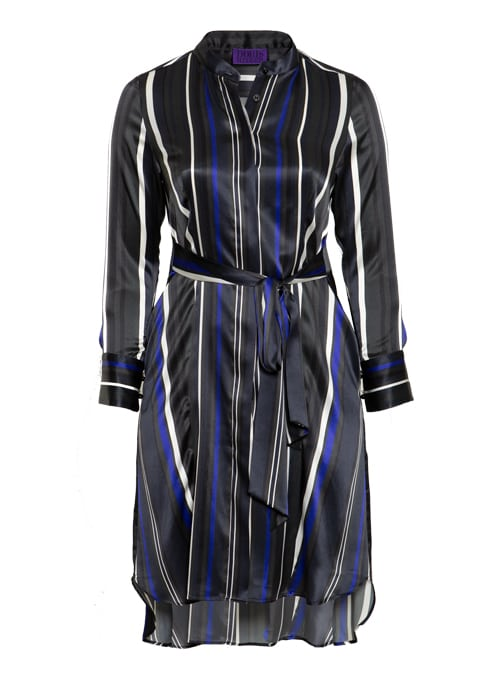 Dress Feminine Classic, Wide stripes, Silk