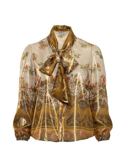 Front Bow Blouse, Royal Rosegarden, Golden