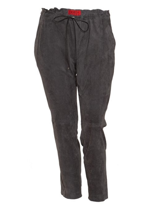 Stretch Veloursleder Pants, Soft Grey
