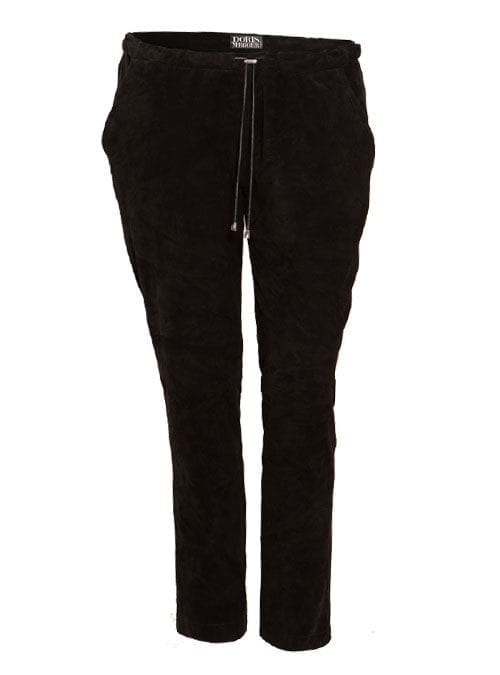 Velour Trackpants, Stretch-Leder, Velvety Black