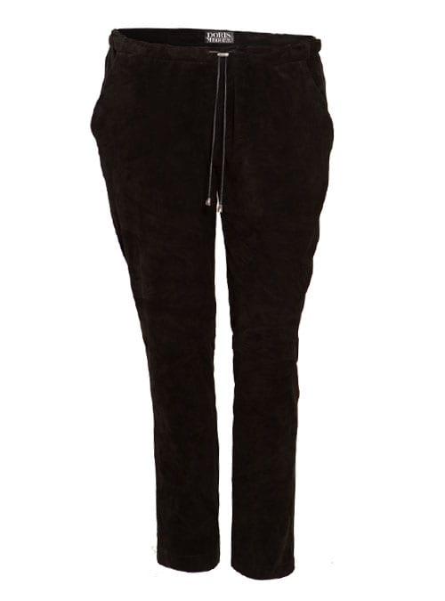 Velour Trackpants, Stretch-Leder, Velvety Black