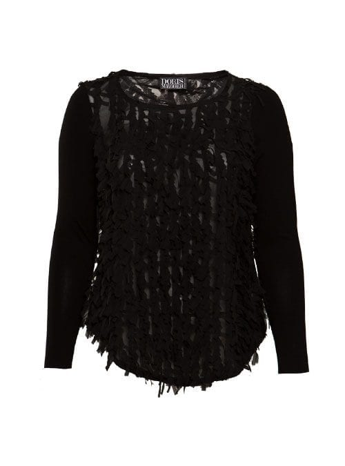 Frill Shirt, Sheer Black, Chiffon &; Jersey