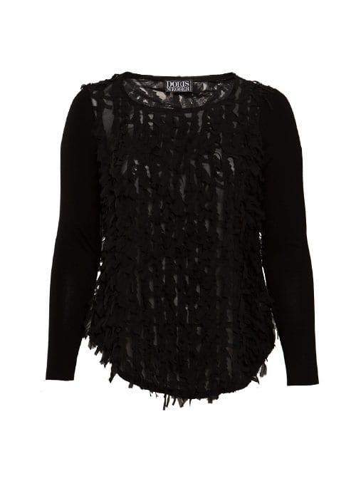 Frill Shirt, Sheer Black, Chiffon &; Jersey