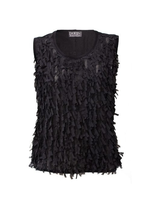 Two-side Frill Top, Silkchiffon, Black