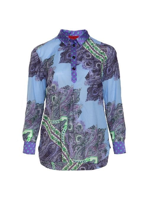 Best Blouse ever, Long back, Paisley Blue