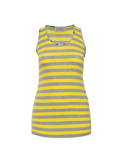 Long Top, Striped Edition, Fine ribbed, Lemon and Grey