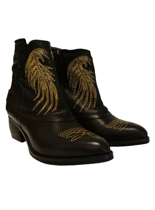 Arizona Ankleboots, Embroidered Black