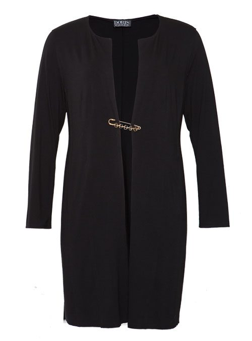 Long Frock Coat, Premium Jersey, Allure Black