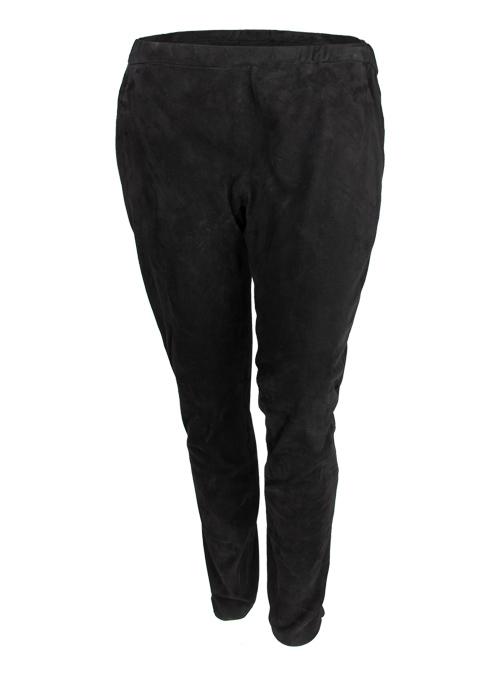 Low Cut Veloursleder Pants, Black