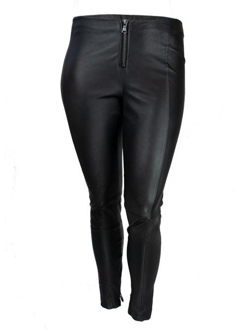 Skinny Leather Zip Pants, Black