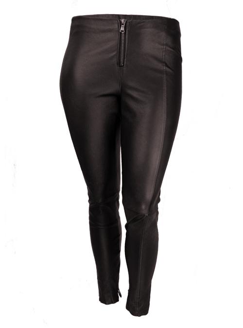Skinny Leather Zip Pants, Dark Maroon