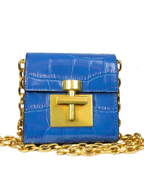 Mini Croc-Optic Bag, Crossbody, Royal Blue