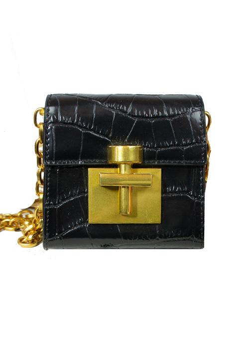 Mini Croc-Optic Bag, Crossbody, Varnish Black