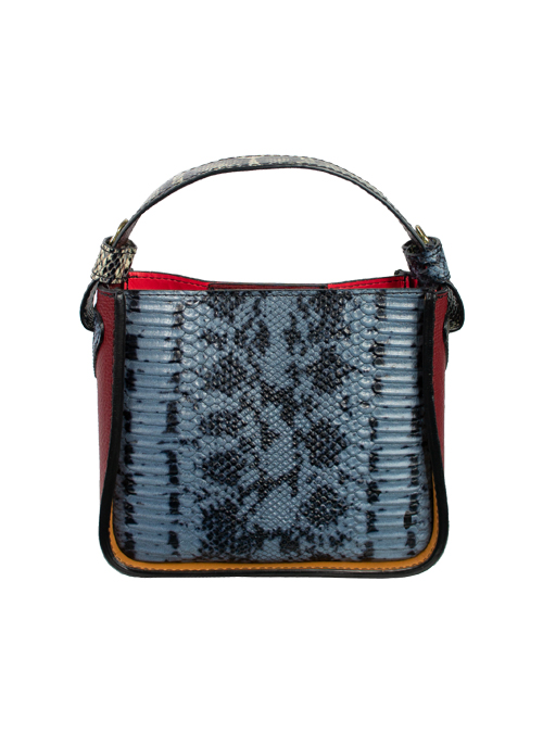 Colorblocking Handbag, Snake Optic, Bluegrey