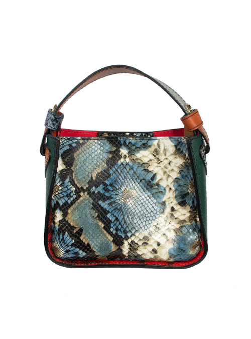 Colorblocking Handbag, Snake Optic, Blue and Burgundy