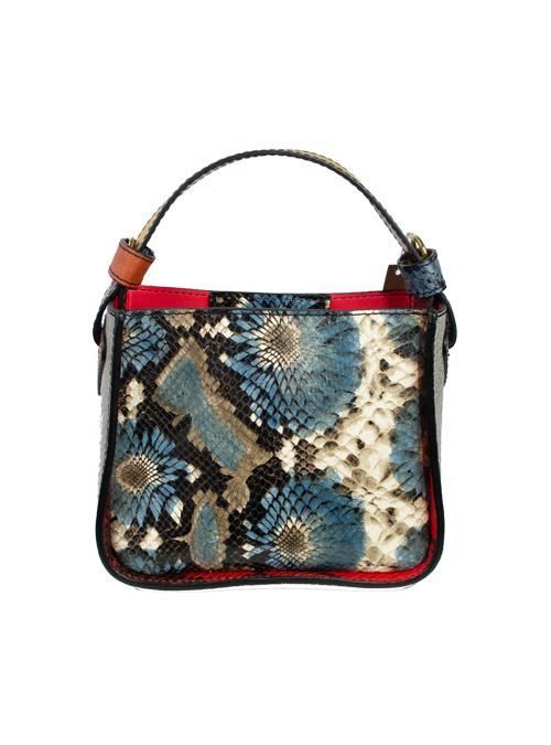 Colorblocking Handbag, Snake Optic, Blue and Lemon