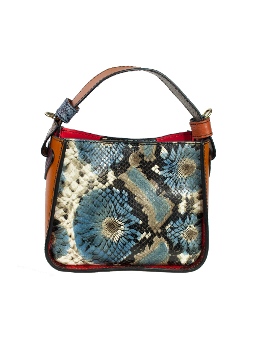 Colorblocking Handbag, Snake Optic, Blue and Cinnamon