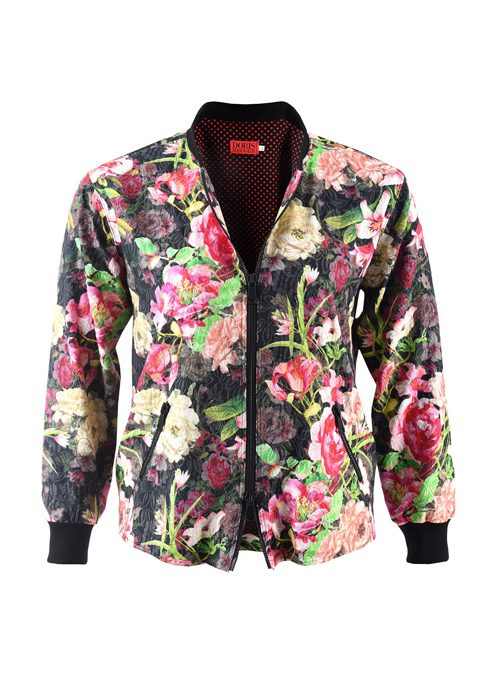Blouson Jacket, Zipper, Pink Flowers