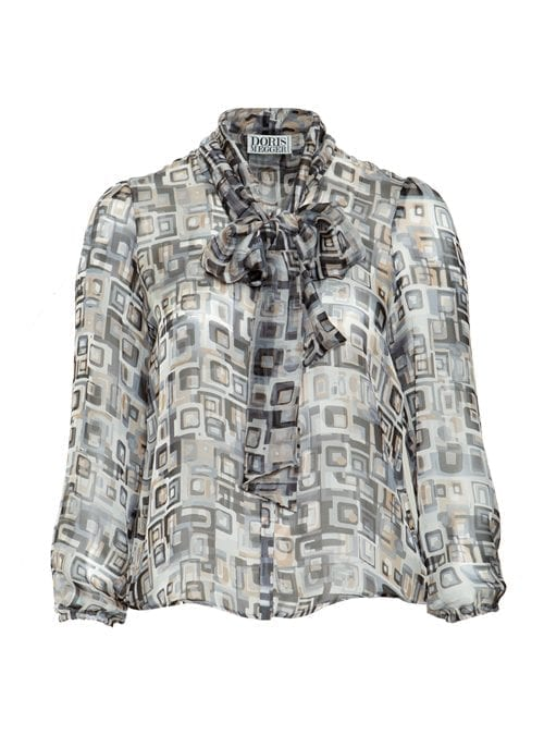 Sheer Blouse, Front Bow, Light Grey, Graphic