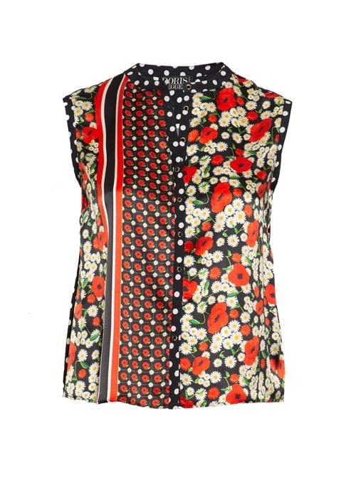 Blouse Statement Sleeveless, Silk, Fiori