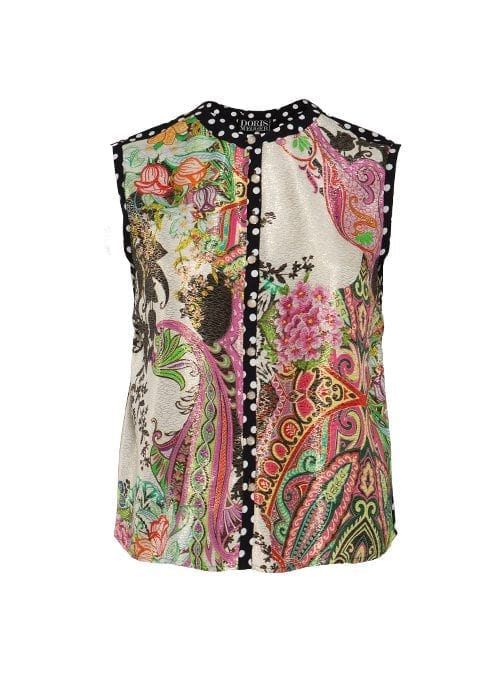 Blouse Statement Sleeveless, Arrangement Golden Floral