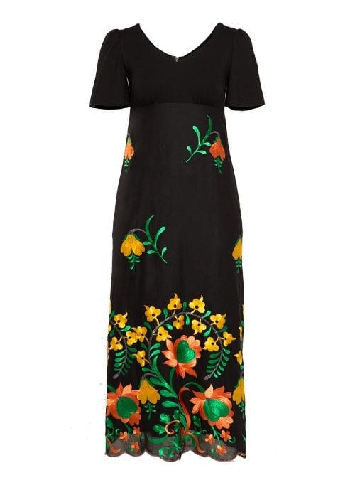 Maxi Dress, Bellsleves, Embroidered, Black and orange