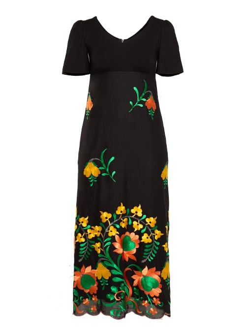 Maxi Dress, Bellsleves, Embroidered, Black and orange