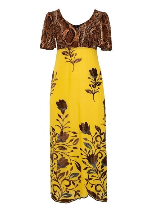 Maxi Dress, Bellsleves, Embroidered, Wild Amber