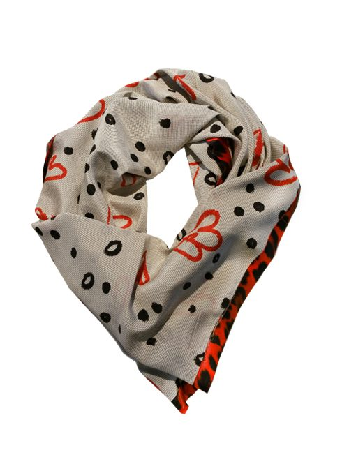 Triangle Silk Scarf, Heart to heart