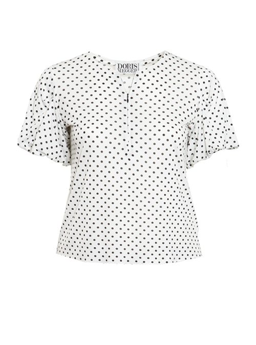 Sway Cropped Shirt, Front Zip, Dots