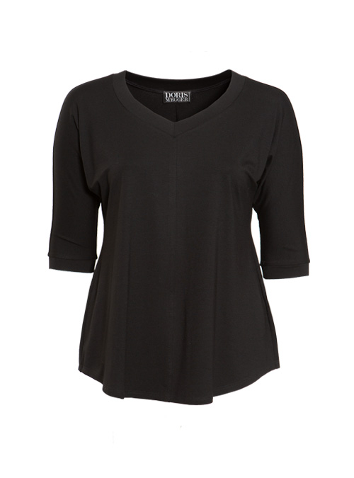 New Swing Shirt, Black, Modest V-Neck