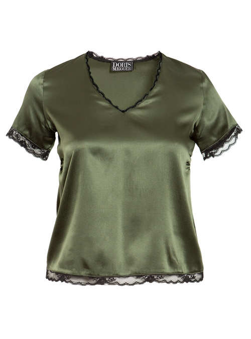 Seta fina Shirt, Lace and Silk, Olive