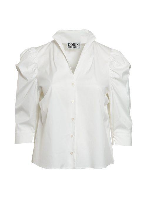 Spot on Sleeve Blouse, White